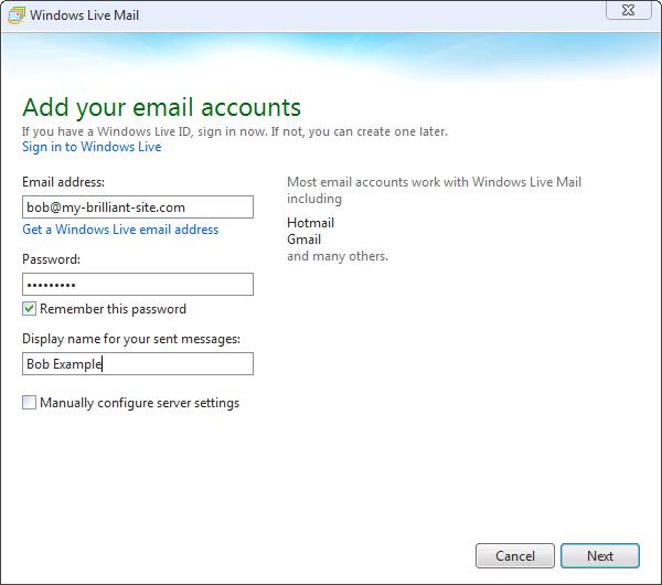 Appendix A. Email client setup